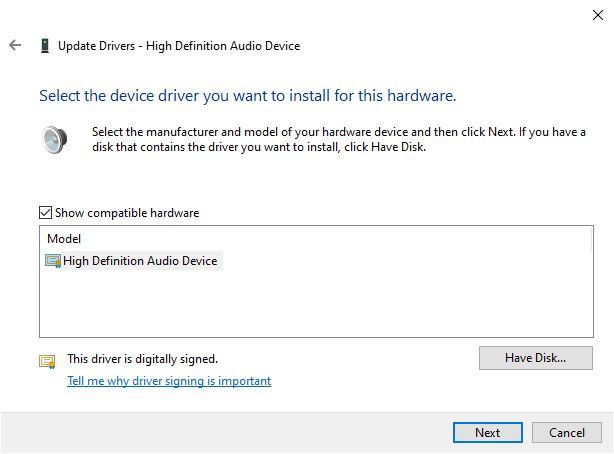 Update High Definition Audio IDT CODEC